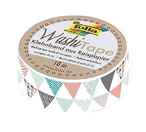 Folia 26066-Washi Tape, triángulos, Aprox. 10m x 15mm