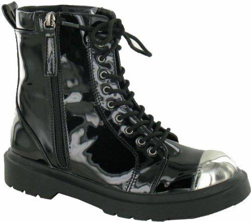 Mesdames noir à lacets cheville bottes avec capuchons orteil en argent Noir