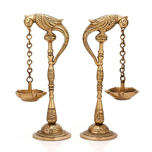 Aone India Pair of Bird Diya Oil Lamp Stand Holder Brass Hindu Religious Puja Art Fengshui Gifts