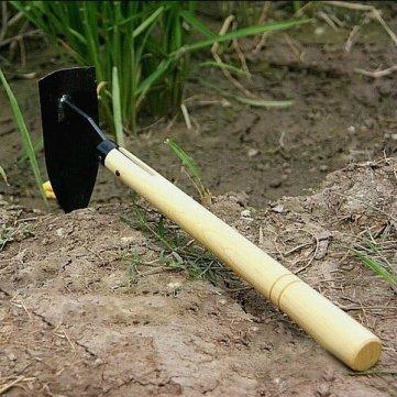 Bheema outil de jardinage houe petit triangle en acier manche en bois