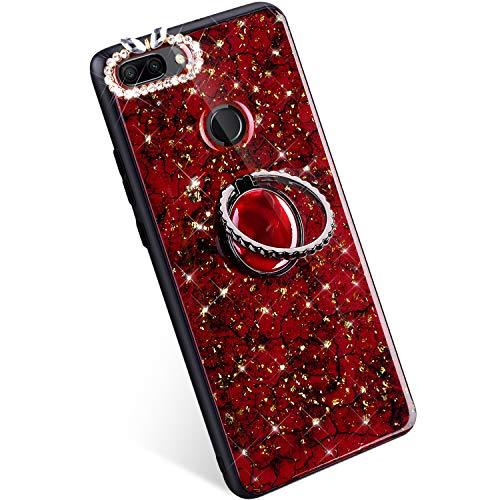 a522de387d9 YSIMEE Compatible con Funda Huawei Honor 9i Estuche Brillante Glitter  [Silicona Suave Borde + PC