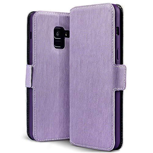 Terrapin, Kompatibel mit Samsung Galaxy A8 2018 Hülle, Leder Tasche Case Hülle im Bookstyle mit Standfunktion Kartenfächer - Lila
