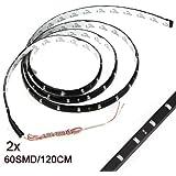 SODIAL(R) 2 x 120CM 60 SMD Tira de Luz LED Neon Flexible Impermeable para Coche - Azul