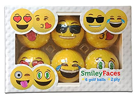 Balles de golf Design smiley Face 2 plis professionnel pratique Balles de golf, 6 balles