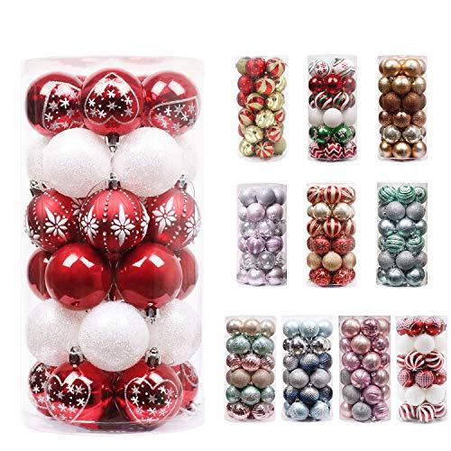 Valery madelyn palline di natale 30 pezzi 6cm palline di natale in plastica decorazioni di natale con gancio decorazioni per albero di natale per decorazioni natalizie tema tradizionale rosso bianco