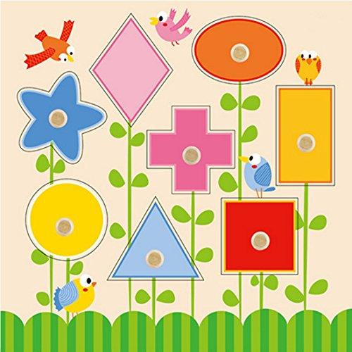 Happy Cherry - Puzzle de Figura Geométrica Juguete Educativo 8 Piezas de Madera para Aprendizaje Temprano de Bebés Niños Niñas 1 Años y Más