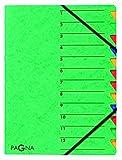 Pagna Ordnungsmappe Easy (Sammelmappe, 12 Fächer, 1-12) grün
