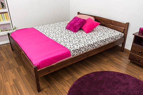 Double bed A13, solid pine wood, nut finish, incl. slats - 160 x 200 cm