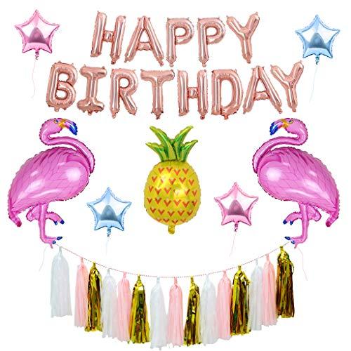 Houstory Happy Birthday Ballons Banner, 15 Stück Hawaiian Beach Party Dekoration Ananas und Flamingo Ballons als Geburtstagsgeschenk, Party-Deko oder Überraschung für die Freundin. - Ananas-banner