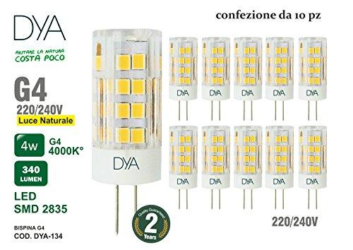 Set von 10Leuchtmittel LED Stiftsockel G4–4W–340Lumen–220/240V–Maßnahmen Ø 16x 50mm–Natürliches Licht 4000K ° Reichweite von Beleuchtung 360°–nicht dimmbar (240 Natürlichen)