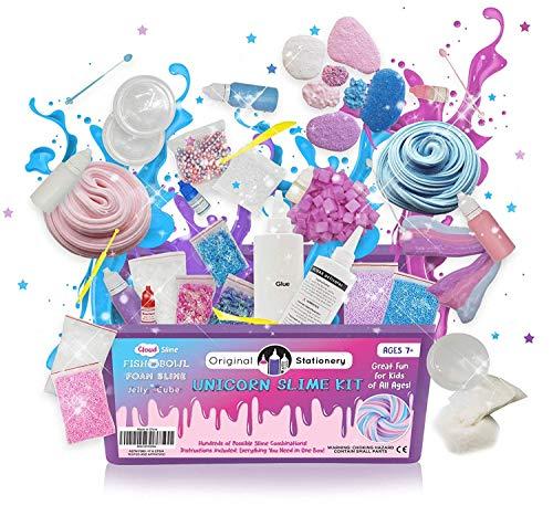 m Selbermachen für Mädchen - DIY Unicorn Fluffy Schleim Set & Kinder Spielzeug mit bunten Perlen, Glitzer & Styroporkügelchen für z.B. Wolkenschleim & Einhornschleim ()