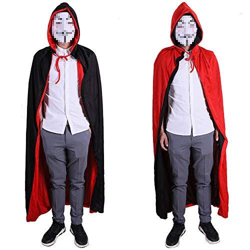 Baanuse Umhang mit Kapuze, Black Red Double Layer, Lange Satin Cape für Halloween Karneval Vampir Kostüm 140CM (Double-layer-kapuze)