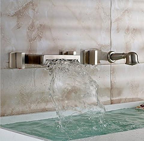 Gowe mural en nickel brossé robinet cascade de salle de bains baignoire romain beaucoup 53poignées