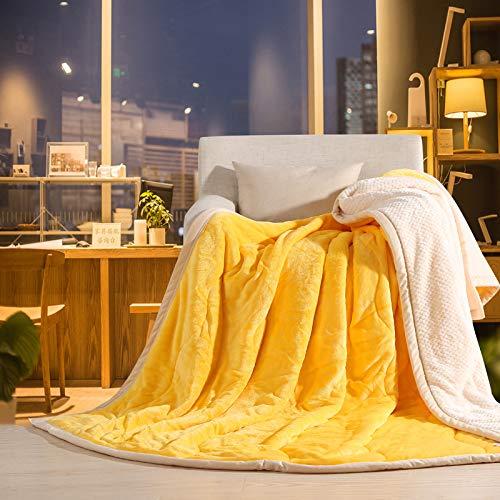 Simmia Home Flanell Fleece werfen Plüsch Mikrofaser Stoff - leichte, weiche und warme Couch Sofa Decke Gelb König Größe 200 x 230 cm (Decke König Gelbe)