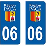 Paire Sticker immatriculation 06 - Alpes maritimes