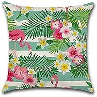 Excelsio Funda de cojín de flamenco rosa tropical para sofá, cama, sala de estar, dormitorio, decoración del hogar, personalizable, cuadrada, algodón, lino, fundas de cojín 45 x 45 cm