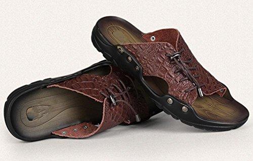 sandali e ciabatte sandali di cuoio degli uomini di estate del merletto di modo personalizzato 4