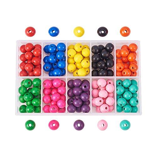 x (ca. 150 Stück) 12mm gefärbte Umweltfreundliche Runde Holzperlen 10 Farben mit Box für DIY Crafting Schmuckherstellung ()