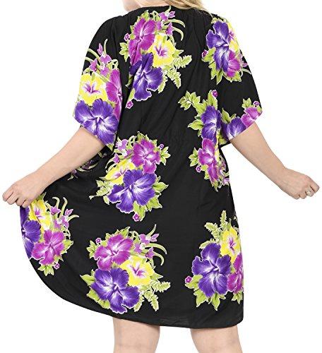 La Leela dames 5 en 1 likre tunique hawaïen lâche top soir hawaïen robe détendu bain ajustement costume maillots de bain couvrent loungewear court occasionnel de nuit bain caftan Violet