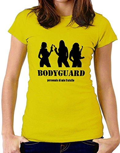 t-shirt Fratello e sorella humor  Bodyguard personale di mio fratello - maglietta by tshirteria giallo