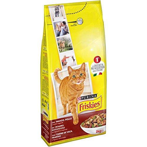 Friskies gatto crocchette adult con manzo, pollo e verdure aggiunte, 2 kg