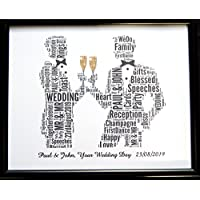 New Personalised Gay Male Wedding Or Civil Wedding, Word Art (B) In A Glass Front Frame, Beautiful Gift & Keepsake, Reduced Postage