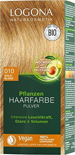LOGONA Naturkosmetik Pflanzen-Haarfarbe Pulver 010 Goldblond, Vegan & Natürlich, Blonde Natur-Haarfarbe mit Henna, Coloration, 100g -