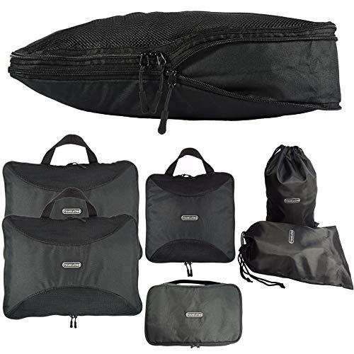 TraveLubes Packtaschen Set mit Kompression 6-teilig mit Kosmetik-Tasche | Koffer-Organizer | Kleidertasche | Packwürfel | Gepäck-Organizer | Kompressionsbeutel