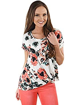 Camiseta de manga corta con diseño floral y nudo, estilo casual, talla XL
