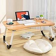 طاولة سرير مكتب لاب توب، طاولة سرير مكتب لمائدة الطعام على الفكاء، طاولة مفكرات مع فتحات للتابلت وحامل كؤوس لأرضية الأريكة ل