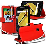 Spyrox ( Red ) Motorola Moto E 2015 2nd Generation Hülle Abdeckung Cover Case schutzhülle Tasche Stylish Fitted BookStyle PU Leather Wallet Flip With Credit / Debit Card Slot Case Skin Cover With LCD Screen Protector Guard, Polishing Cloth & Mini Retractable Stylus Pen