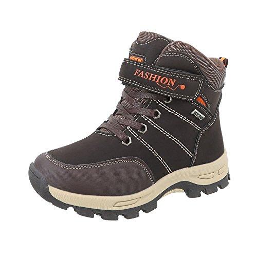Stiefel & Boots Kinder-Schuhe Klassischer Stiefel Jungen Reißverschluss Ital-Design Stiefeletten Braun, Gr 34, E726Co-3-