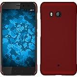 PhoneNatic Custodia Rigida Compatibile con HTC U11 - gommata Rosso - Cover + Pellicola Protettiva