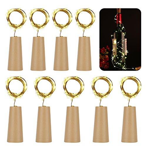 9 x 20 LED Flaschen-Licht Kupferdraht Cork Form der LED Nacht Licht Weinflasche Hochzeit Party romantische Deko (warm weiß) [Energieklasse A+++] (Beleuchtung Licht Bar Led)