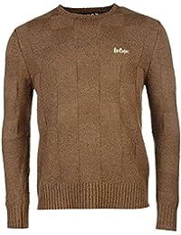 Lee Cooper Compruebe Jumper Mens marrón Jersey sudadera Top, marrón