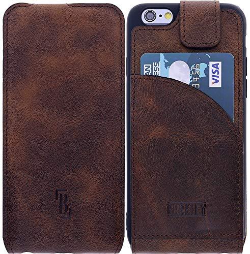 Burkley Lederhülle geeignet für Apple iPhone 6 / 6S Hülle Handyhülle - Schutzhülle Flip Cover Case für das iPhone 6 / 6S mit Kartenfach (Kaffee Braun)