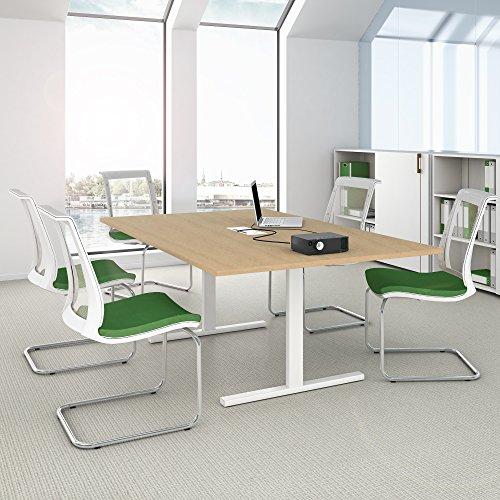 Weber Büro EASY Konferenztisch 200x120 cm Ahorn mit ELEKTRIFIZIERUNG Besprechungstisch Tisch,...