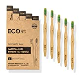 ECOet Bamboo Toothbrushes with Soft Bristles for Adults Biodegradable   Wavy Angled Bristles   BPA Free   Anti Bacterial   Recyclable Packaging   Eco Friendly   Pack of 5   Soft Toothbrush