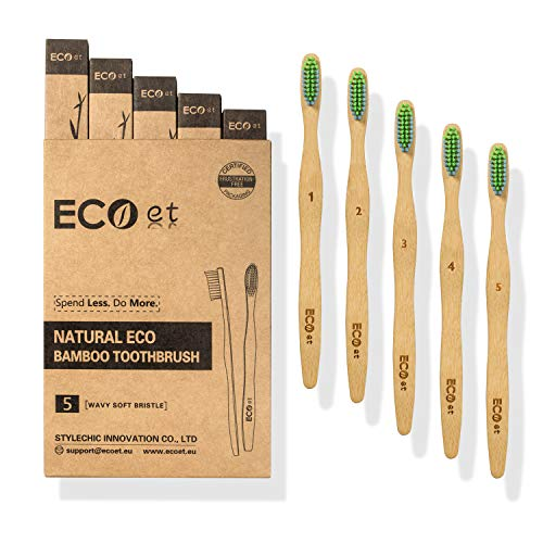 ECOet Cepillos de Dientes de Bambú con Cerdas Suaves para Adultos | Biodegradable | Cerdas Angulosas Onduladas | Sin BPA | Anti Bacterial | Embalaje Reciclable | Ecológico | Paquete de 5pcs