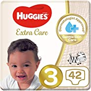 Huggies Extra Care Diapers, Size 3, Value Pack, 4-9 kg, 42 Diapers