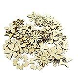 Sharplace 50 Stück Holzherzen Holz Verzierung für Hochheitsdeko Tischdeko Streudeko DIY Handwerk - Blume Formen - 3
