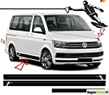SUPERSTICKI VW Bus T5 T6 Wakeboard Wasserksi Wassersport Edition Seitenstreifen Dekor Set Viperstreifen Viper Streifen Racing Stripes Rennstreifen Aufkleber Sticker Tuning Autoaufkleber