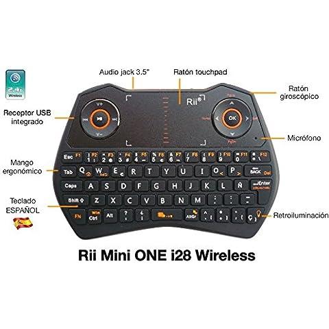 Rii Mini ONE i28 Wireless (layout Español) - Mini teclado ergonómico retroiluminado con doble ratón touchpad y giroscópico, micrófono y conector de audio 3.5