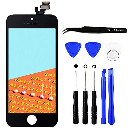 TPEKKA Display Ersatz für iPhone 5 Display Bildschirm LCD Touchscreen Digitizer Display Front Komplettes Glas Panel mit Reparatur Komplett Set Werkzeuge für iPhone 5 Screen DIY Schwarz, 4 Zoll