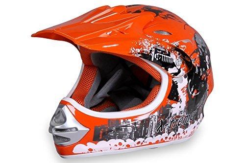 Motorradhelm X-treme Kinder Cross Helme Sturzhelm Schutzhelm Helm für Motorrad Kinderquad und Crossbike Modell in orange (Medium)