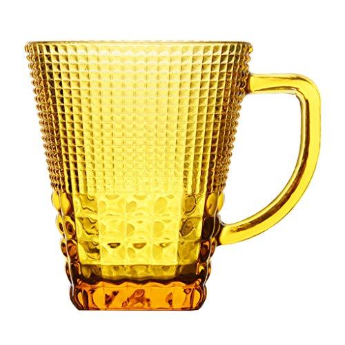 Irish Coffee-Gläser Glasschale Kristallschale Kristallglasschale Färbte Glasmilchschalenhaushalt Mit Heißem Glas des Kristallglasesaftkaffees des Wassers (Color : Amber, Size : 8.8 * 10.2cm) - Amber Glas Wasser