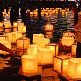 Papier carré chinois Souhaitant Lanternes à bougie flottante rivière Lampe