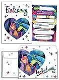 12 Einladungskarten incl. 12 Umschläge zum Kindergeburtstag für Mädchen Einhorn / Unicorn / zwei Einhörner / Einladungen / schöne und bunte Geburtstagseinladungen (12 Karten + 12 Umschläge)