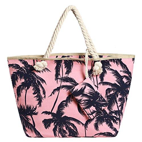 Bolso de playa grande impermeable con cremallera bolso de hombro Palmeras fucsia