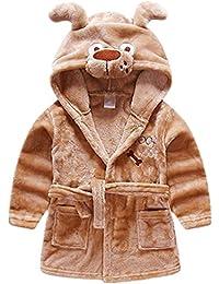 Tkria Bébé Garçon Peignoir Sortie De Bain à Capuche Pour Enfants Serviette de Bain Vêtements de Nuit Pyjamas 1-5 Ans
